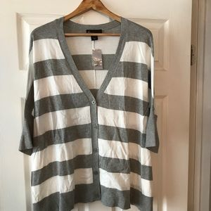Gray & White Striped Cardigan